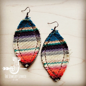 Frayed Serape Earrings with Leather Backing 202b