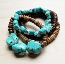 Load image into Gallery viewer, Turquoise Chunks With Wood Bracelet