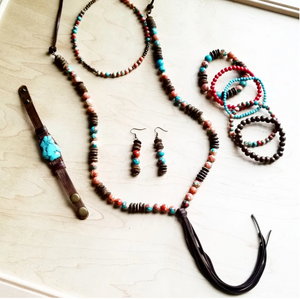 Multi-Colored Turquoise Necklace with Wood Beads and Leather Tassel