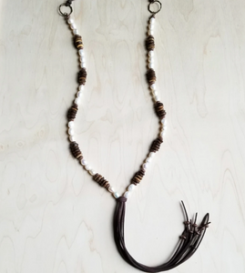 Freshwater Pearl and Wood Necklace with Fringe Tassel
