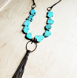 Turquoise Slab Necklace with Genuine Long Leather Tassel