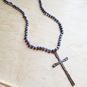 Frosted Blue Sodalite Long Beaded Necklace with Copper Cross Pendant