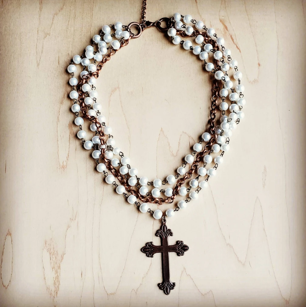 Pearl and Copper Collar-Length Necklace with Copper Cross