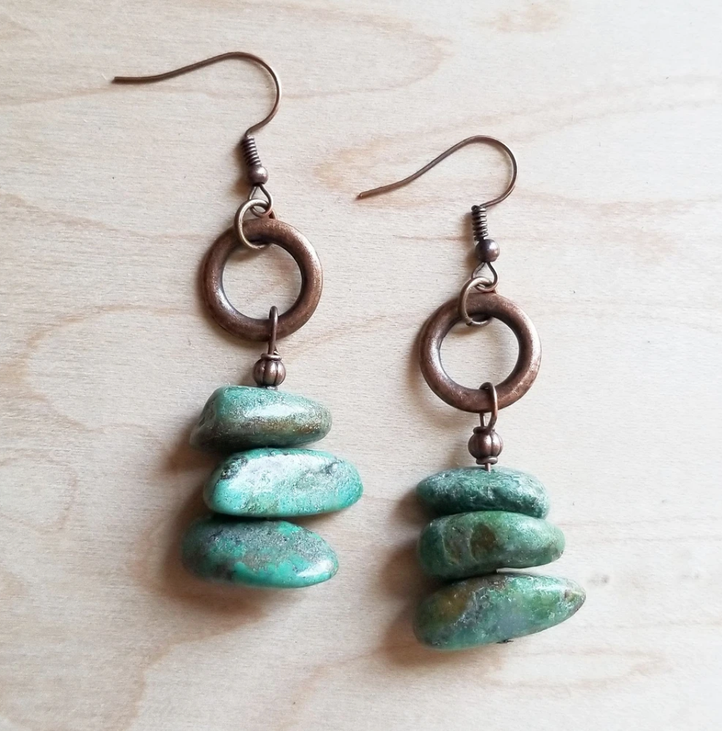 Natural Turquoise Stacked Gemstone Earrings