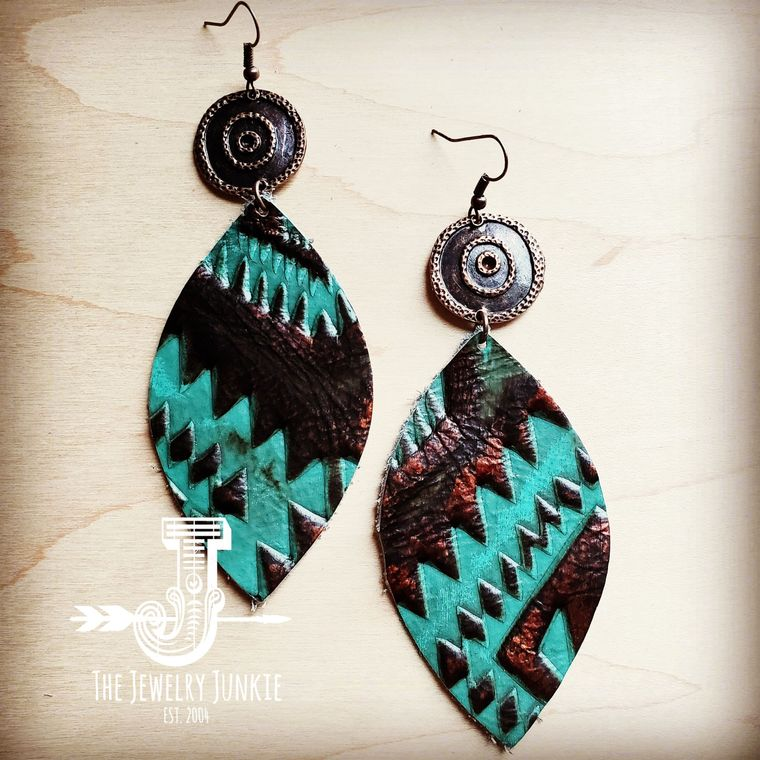 Leather Oval Earrings in Turquoise Aztec w/ Copper Discs 200c