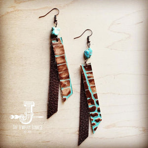 Leather Rectangle Earrings w/ Turquoise in Turquoise Brown Gator 201j