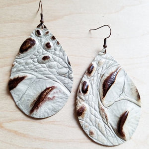 Leather Teardrop Earrings-Brown and Cream Gator 217y