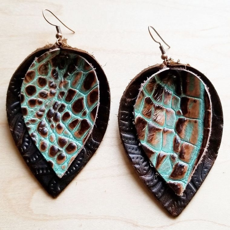 Leather Double Stacked Earrings-Brown & Turquoise Gator 218k
