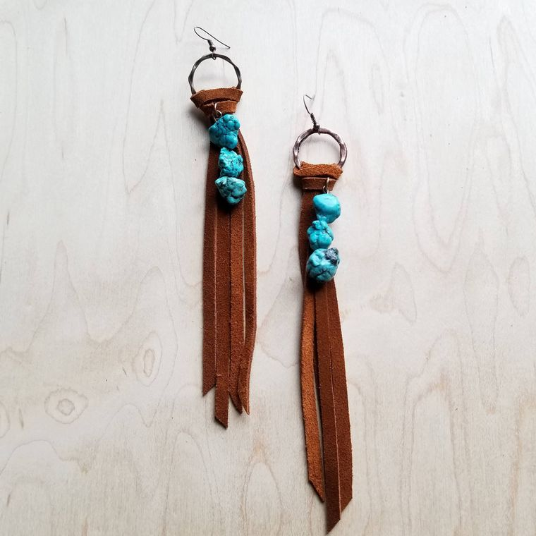 Suede Fringe Earrings with Turquoise Chunks 223f