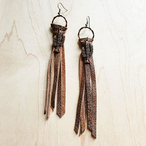 Brown Leather Tassel Earring w/ Cactus Charms 223j