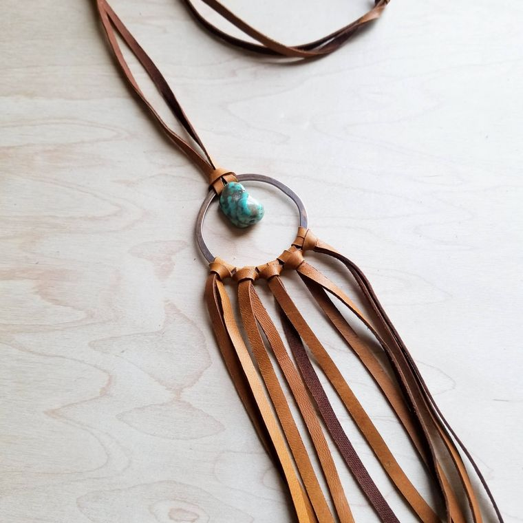 Tan Leather Dream Catcher Necklace with Turquoise Chunk 246t