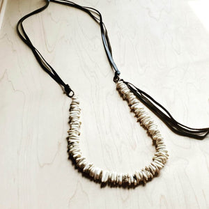 White Turquoise Necklace w/ Side Tie Leather Tassel (249j)
