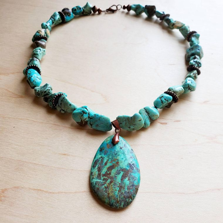 Chunky Turquoise Necklace w/ Natural Teardrop Pendant 249m