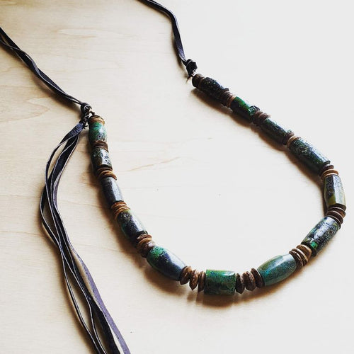 Barrel-Shaped Natural Turquoise Necklace w/ Side Leather Tie (249o)