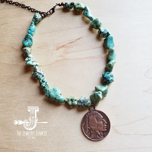 Seafoam Green Turquoise Collar-Length Necklace with Indian Head Coin 250d