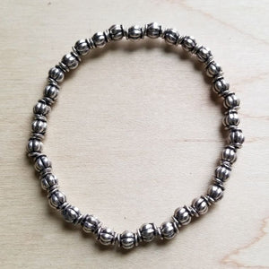 Bracelet Bar-Antique Silver Beaded Stretch Bracelet 802g
