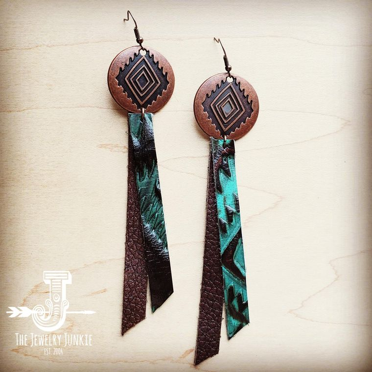 Leather Rectangle Earrings w/ Turquoise Aztec 200i