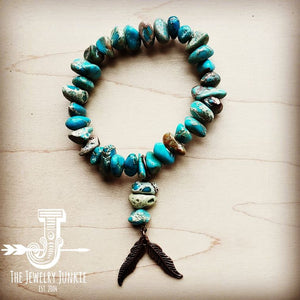 Natural Turquoise Blue Regalite Bracelet w/ Feather Accents 803w