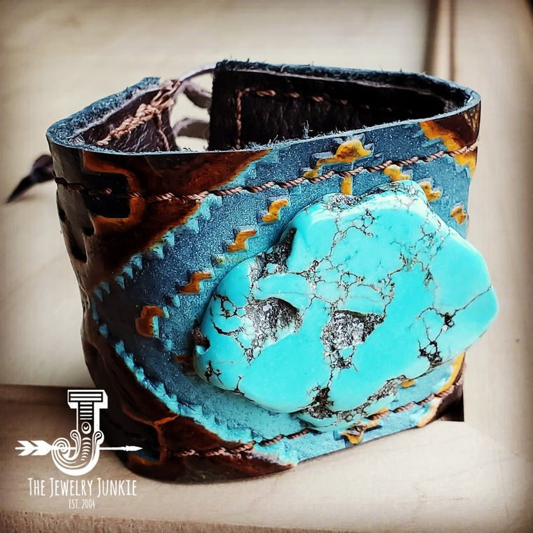 Leather Cuff w/ Leather Tie-Blue Navajo and Turquoise Slab (011t)