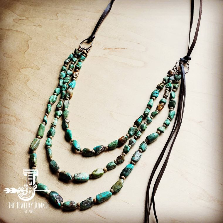 Long Triple Strand Natural Turquoise & Wood Necklace w/ Tassel 250L