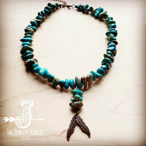 Blue Regalite Collar Necklace w/ Copper Feather Accent 250h