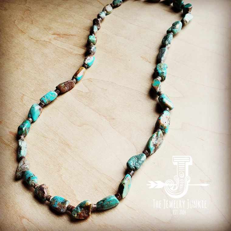 Genuine Long Natural Turquoise and Wood Layering Necklace 250w