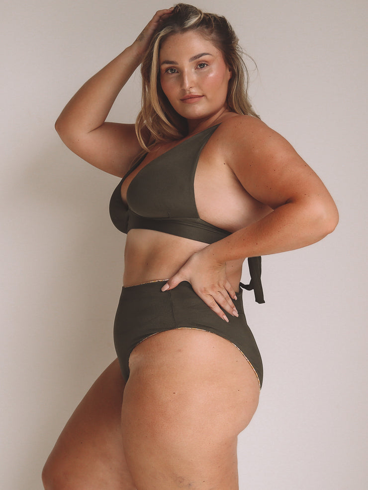Yummy Mummy Bottom - Posy Floral / Khaki Ribbed 'reversible'