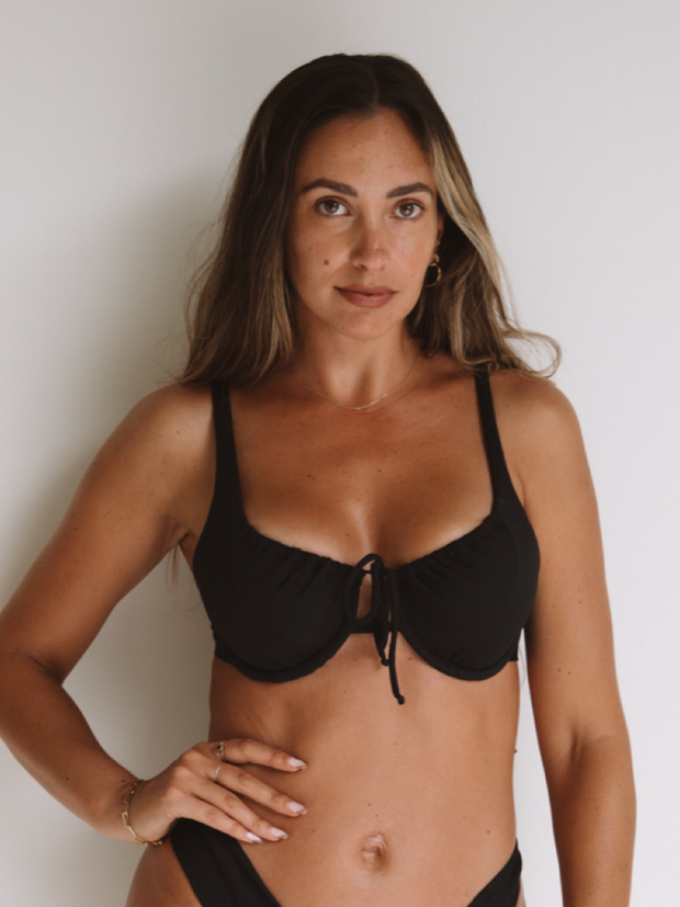 Parisian Big Boobie Top - Black Ribbed