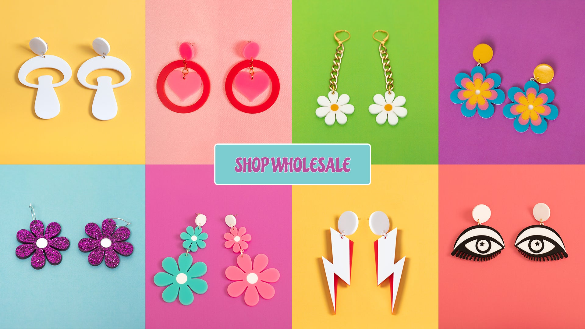 Banner with link to our wholesale page. Features 8 product images, each on a bright colored background. A daisy, a lightning bolt, a mushroom design, and heart designs.