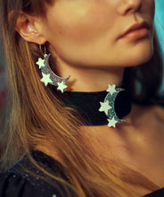 Load image into Gallery viewer, Space Oddity Moon Hoops,EarringMindFlowers