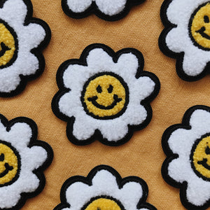 Smiley Face Daisy Flower Chenille Iron On Patch