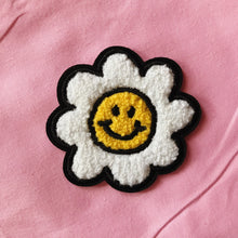 Load image into Gallery viewer, Smiley Face Daisy Flower Chenille Iron On Patch