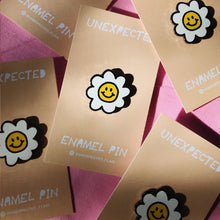 Load image into Gallery viewer, Smiley Face Daisy Flower Enamel Pin