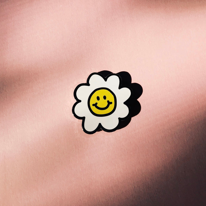 Smiley Face Daisy Flower Chenille Enamel Pin