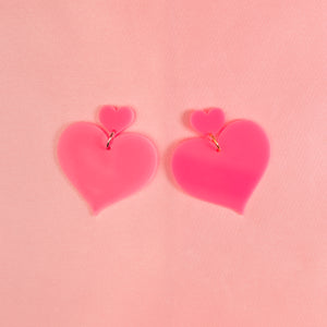 Heart 2 Heart Hanging Stud Earrings,EarringMindFlowers