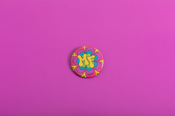 Radiating MindFlower Button Pin,FlairMindFlowers