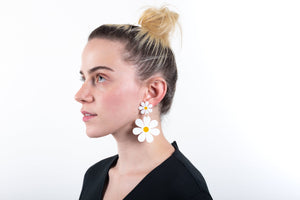 The Double Daisy Stud Earrings On Model