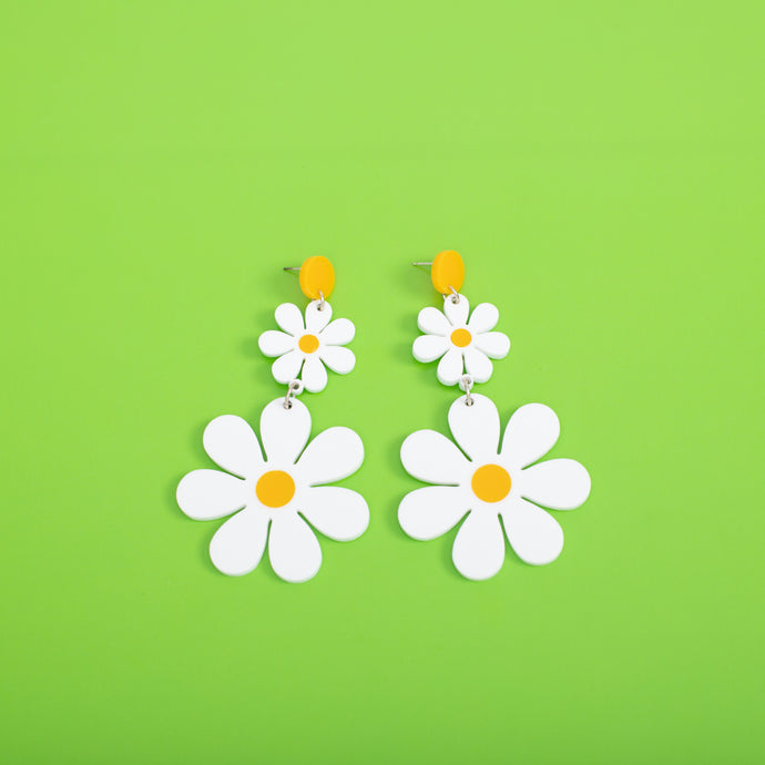 The Double Daisy Hanging Stud Earrings,EarringMindFlowers