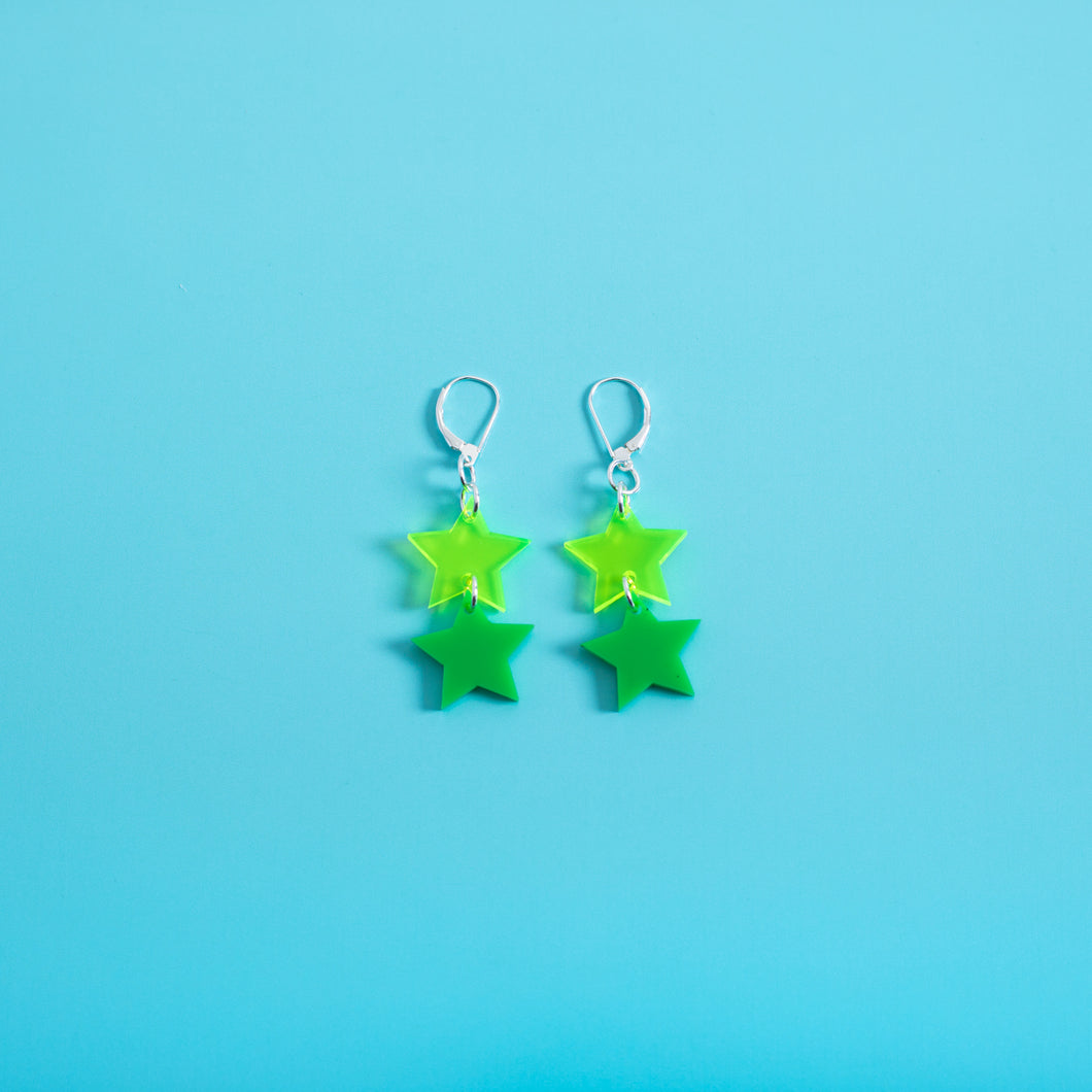 Double Star Dangle Earrings,EarringMindFlowers