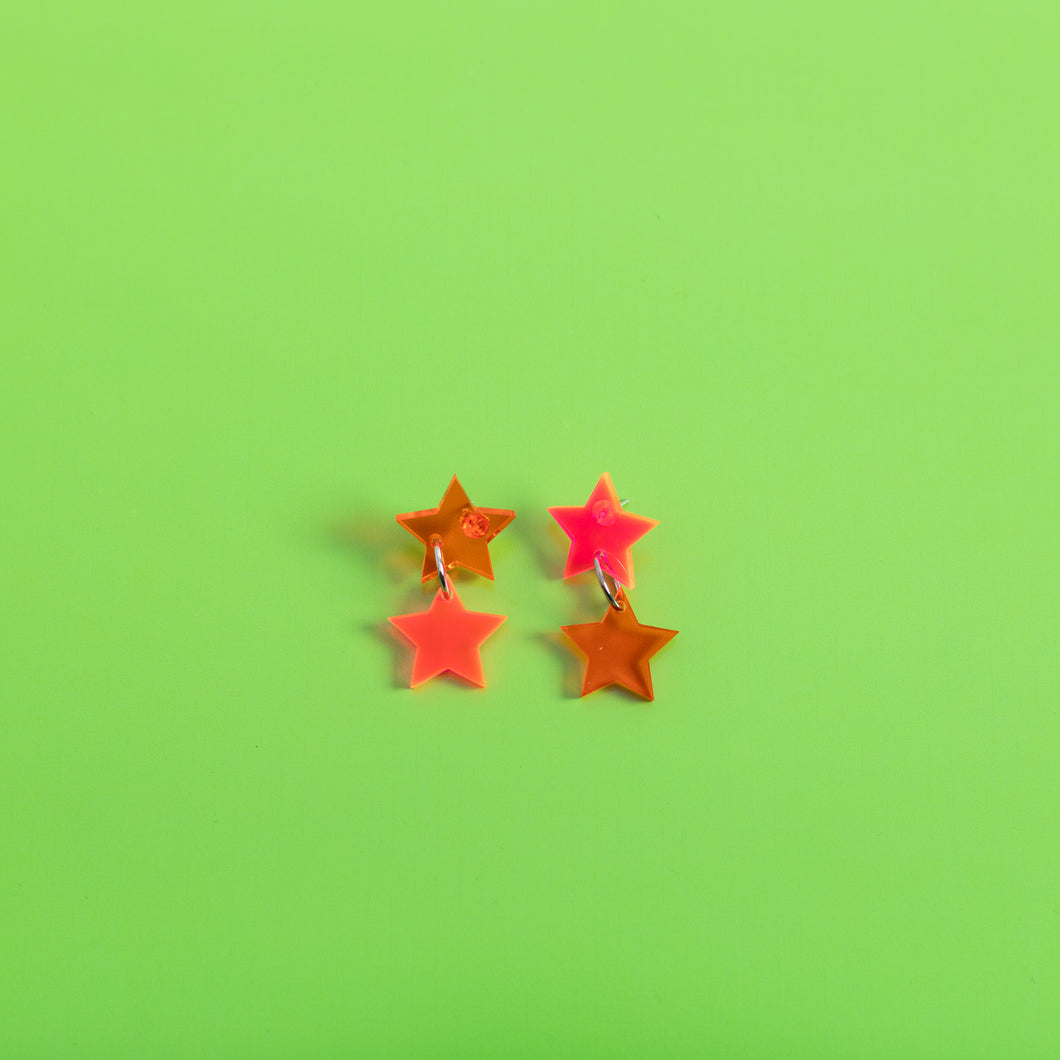 Double Star Stud Earrings,EarringMindFlowers