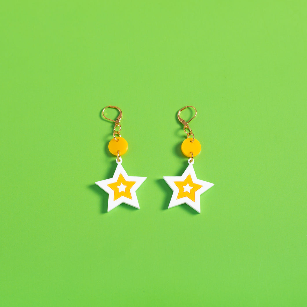 The Mini Seeing Star Dot & Chain Earrings,EarringMindFlowers