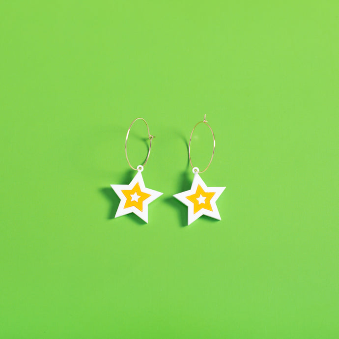 The Mini Seeing Star Hoop Earrings,EarringMindFlowers