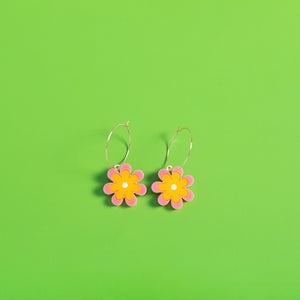 The Baby Candy Daisy Hoop Earrings,EarringMindFlowers