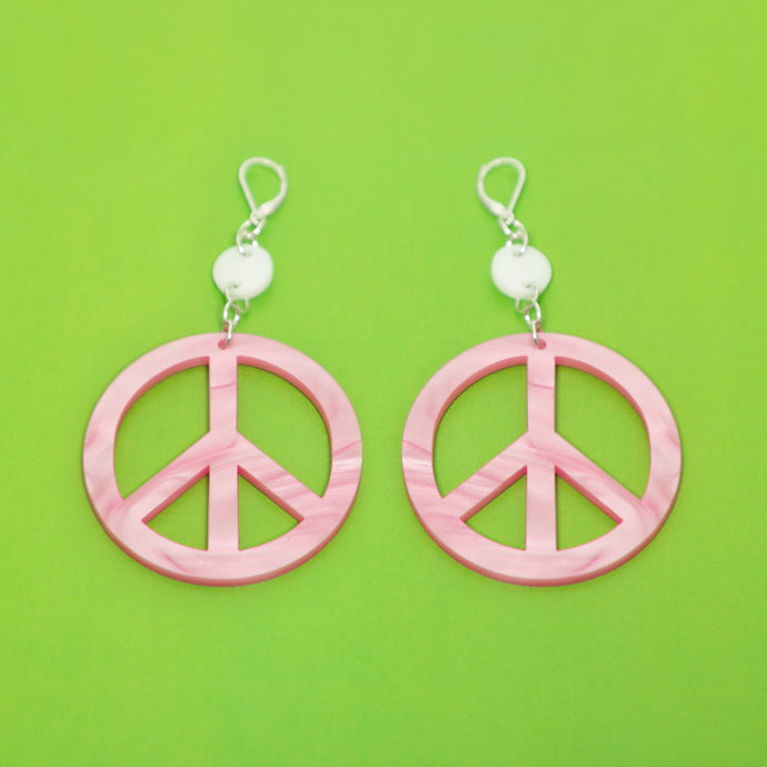 The Peace Dot & Chain Earrings,EarringMindFlowers