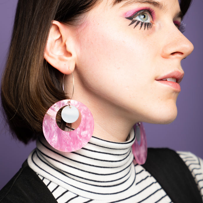 Oh Mod! Floating Dot Hoop Earrings,EarringMindFlowers