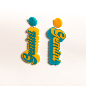 The Gemini Word Hanging Stud Earrings,EarringMindFlowers