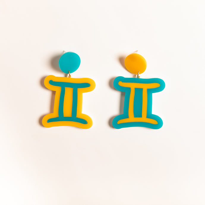 The Gemini Sign Hanging Stud Earrings,EarringMindFlowers