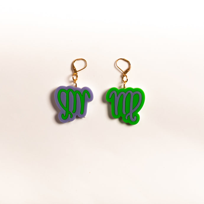 The Virgo Sign Dangle Earrings,EarringMindFlowers