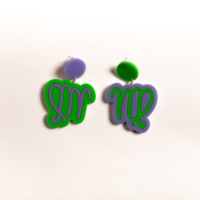The Virgo Sign Hanging Stud Earrings,EarringMindFlowers