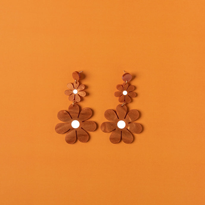 The Double Daisy Hanging Stud Earrings